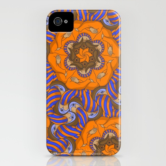 Iphone case with Carnaval Tessellation by Francine Champagne, ©2015