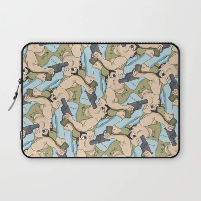 Laptop Sleeve with Darwin Award Nominee tessellation by Francine Champagne, ©2014