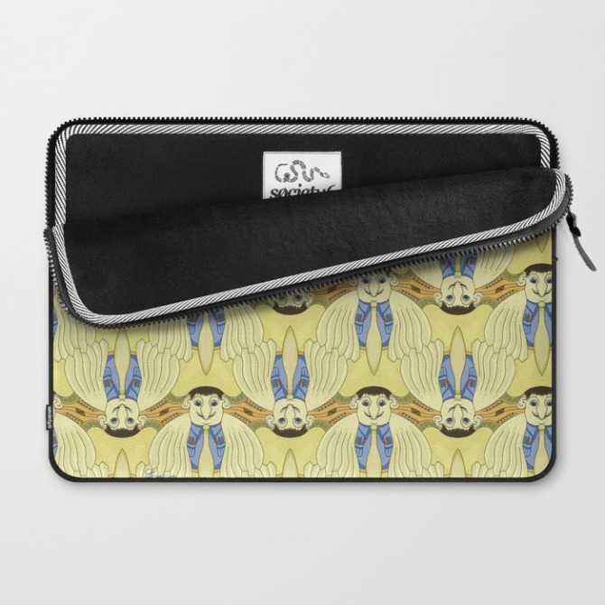 Laptop Case with Bird Brainiac tessellation by Francine Champagne, ©2014