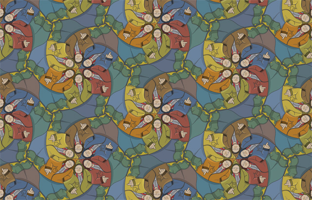 Brodie's Pockets tessellation  with an updated colour scheme, by Francine Champagne, ©2016 — Symétruc des poches de Brodie