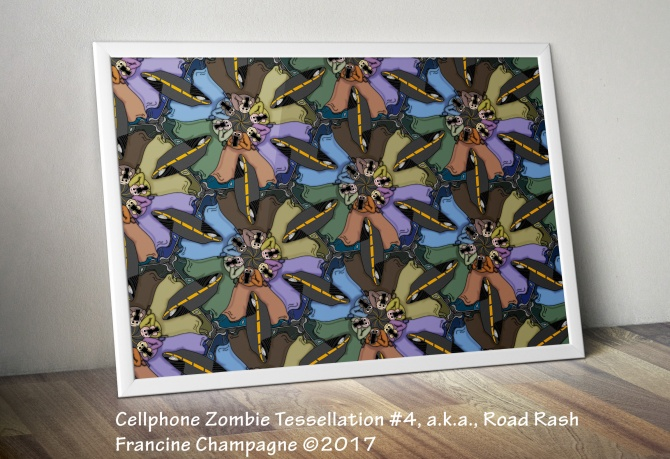 Cellphone Zombie Tessellation #4, a.k.a., Road Rash Francine Champagne ©2017