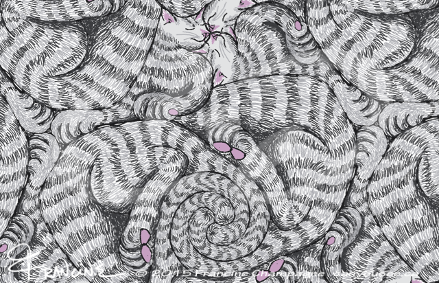 Aloof the cat, tessellation by Francine Champagne, ©2014