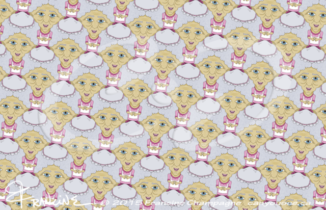 Bobblehead Grannies tessellation by Francine Champagne, ©2014