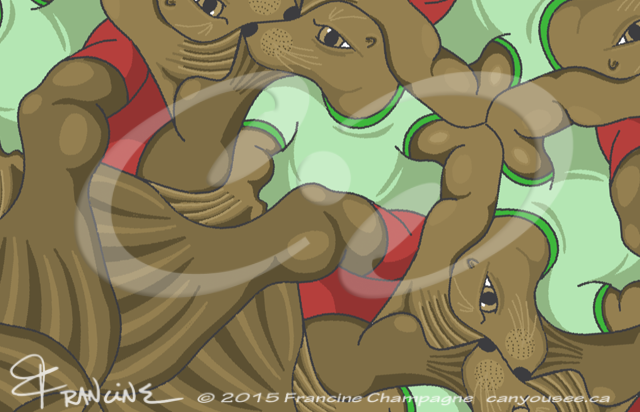 Harbour Seals tessellation by Francine Champagne, ©2014