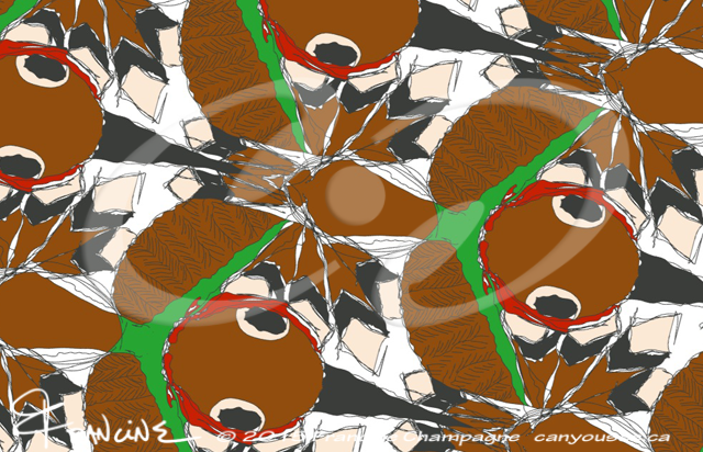 Hummingbird tessellation in symmetry group Cm, Champagne Design ©2014