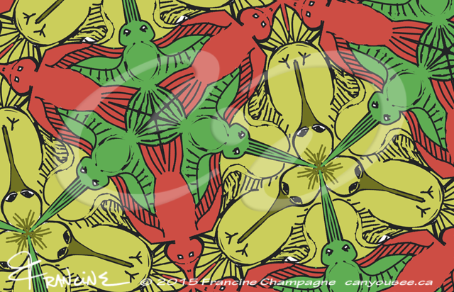 Hummingbird tessellation in symmetry group P3m1, Champagne Design ©2014