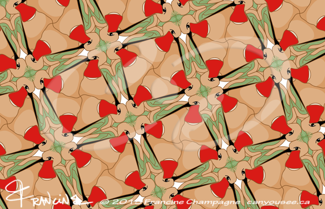 Hummingbird tessellation in symmetry group P4g, Champagne Design ©2014