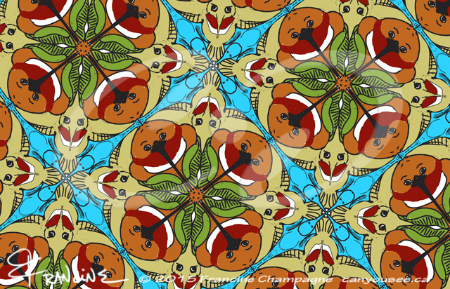 Hummingbird tessellation in symmetry group P4m, Champagne Design ©2014