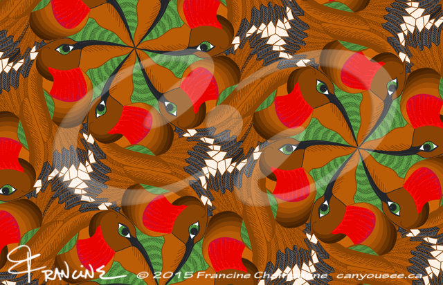 Hummingbird tessellation in symmetry group P6, Champagne Design ©2014