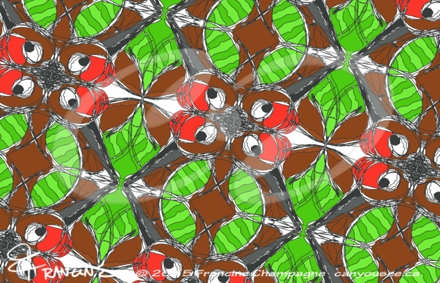 Hummingbird tessellation in symmetry group Pmm, Champagne Design ©2014