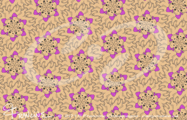 Poopers with Purple and Pink Polkadot Bandanas tessellation by Francine Champagne, ©2013