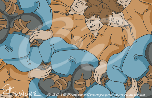 Reclining Dudes tessellation by Francine Champagne, ©2014