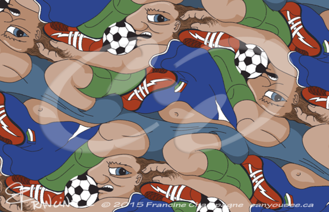 Ultimate Soccer Dive tessellation by Francine Champagne, ©2014