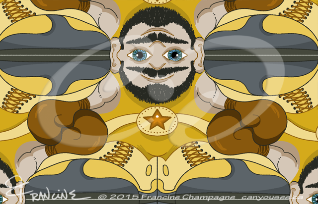 Unibrow Boxer tessellation by Francine Champagne, ©2014