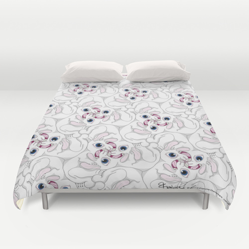 Duvet cover Rabid Rabbits tessellation by Francine Champagne, ©2013