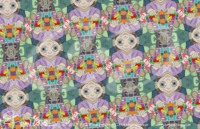 Otto the Grocer and Hannah the Shopper tessellation by Francine Champagne, ©2013