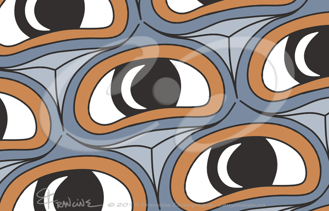 Ovoid Eyes tessellation by Francine Champagne, ©2015