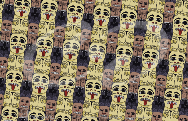 Three Figure Totem tessellation by Francine Champagne, ©2014