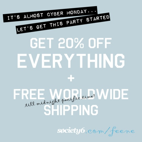 20% off till midnight pacific time AND free shipping worldwide