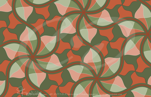 Camo with style tessellation by Francine Champagne, ©2015 — Symétruc de camouflage avec style!