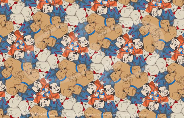 Dog Walker tessellation by Francine Champagne, ©2015 — Symétruc Promeneur de chien