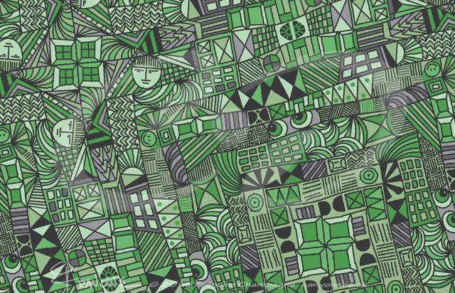 Green Gadgets tessellation by Francine Champagne, ©2015 — Symétruc fouillis vert