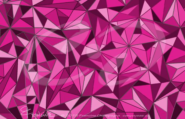Magenta Mayhem tessellation by Francine Champagne, ©2015 — Symétruc fouillis magenta