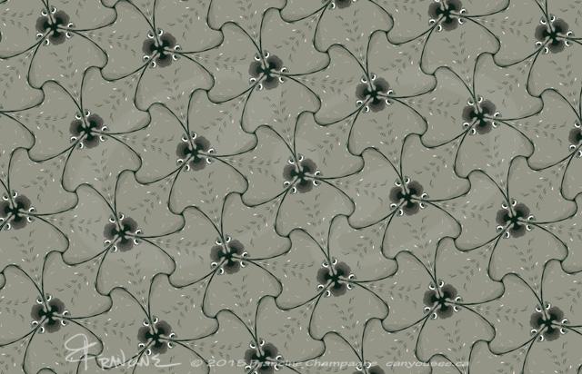 Manta Ray tessellation by Francine Champagne, ©2013 — Symétruc de raies