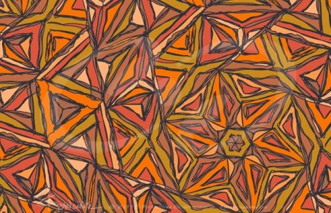 Orangement tessellation by Francine Champagne, ©2015 — Symétruc fouillis orange