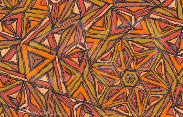 Orangement tessellation by Francine Champagne, ©2015 — Symétruc fouillis orange
