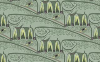 Cowzilla tessellation by Francine Champagne, ©2014 — Symétruc de valézar