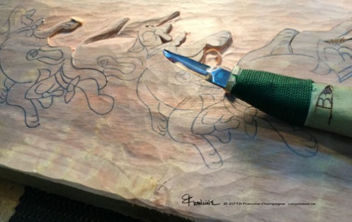 Snoring Dogs line tessellation by Francine Champagne, ©2015 — Symétruc de chiens ronflants