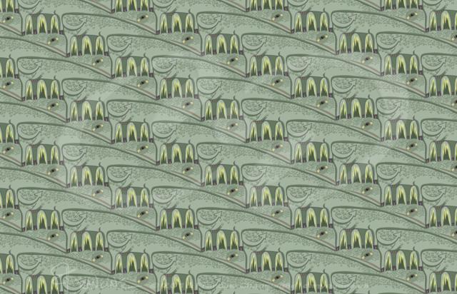 Cowzilla tessellation by Francine Champagne, ©2014 — Symétruc de vlézar