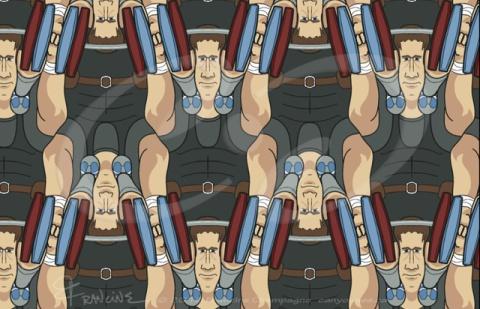 Weightlifter tessellation by Francine Champagne, ©2015 — Symétruc d'haltérophilie