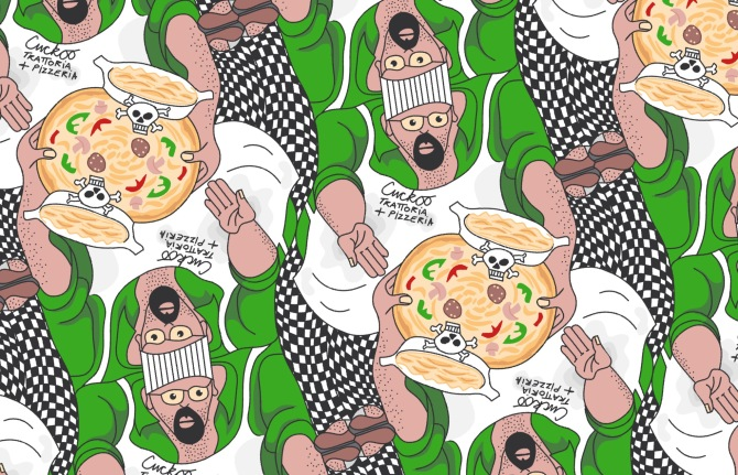 Cuckoo Toxic Trattoria and Pizzeria tessellation by Francine Champagne, ©2016 — Symétruc d'empoisonnement