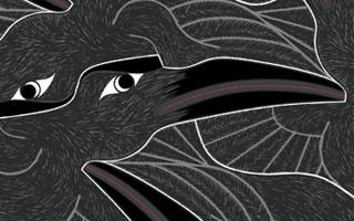 Raven tessellation by Francine Champagne, ©2016 — Symétruc de corbeau