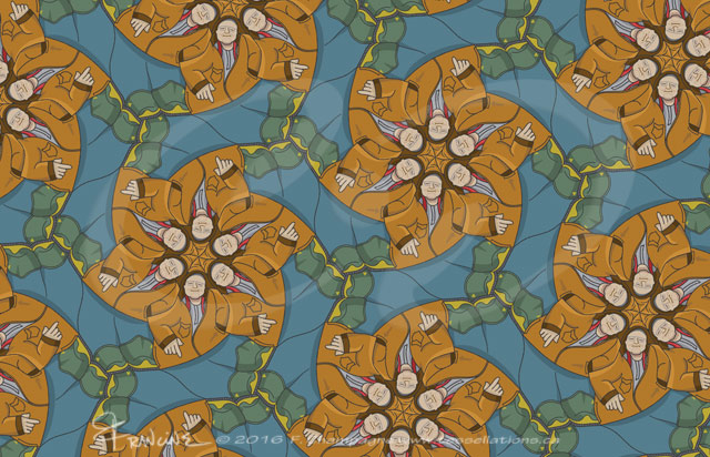 Brodie's Pockets tessellation by Francine Champagne, ©2016 — Symétruc des poches de Brodie