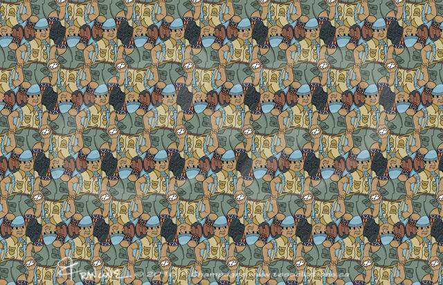 Hiker tessellation by Francine Champagne, ©2013 — Symétruc de randonneur