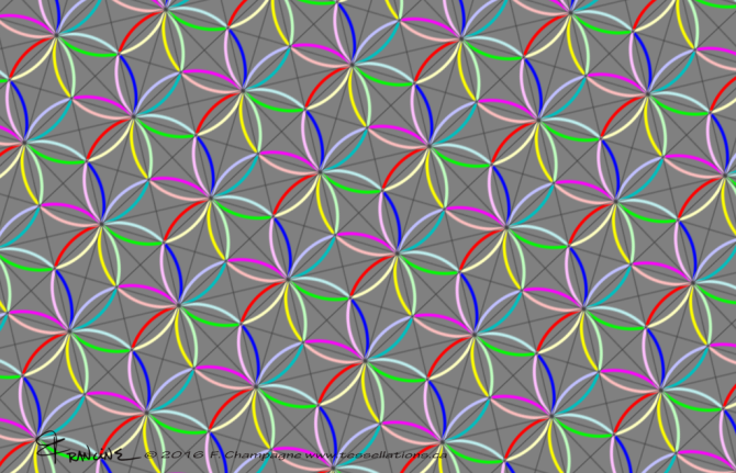 Flower of Life tessellation by Francine Champagne, ©2016
