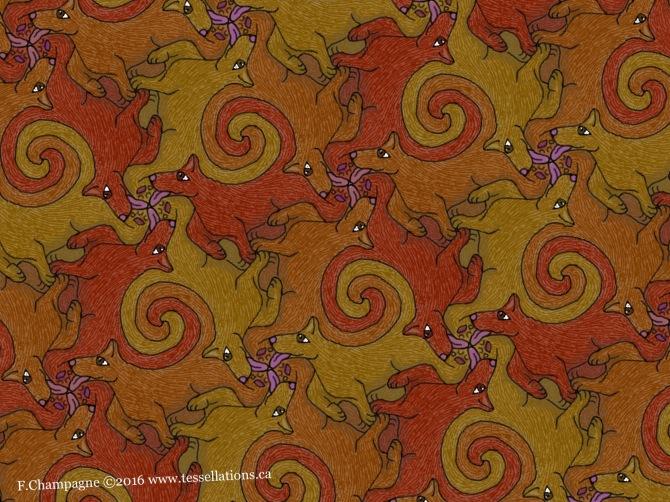 Three dogs tessellation by Francine Champagne ©2016 Symétruc à trois chiens