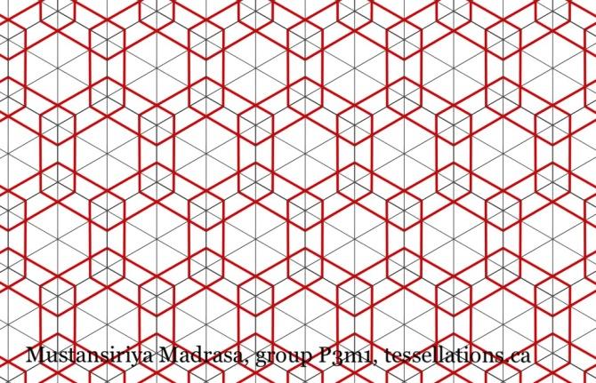 Tessellation in symmetry group P3m1, Mustansiriya Madrasa, tessellations.ca