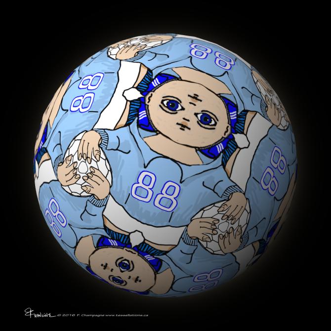 Soccer Kid tessellation sphere mapping by Francine Champagne, ©2016 — Symétruc d'amateur de soccer