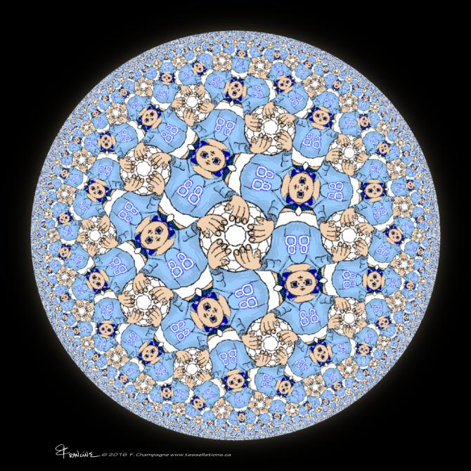 Soccer Kid tessellation by Francine Champagne, ©2016 — Symétruc d'amateur de soccer
