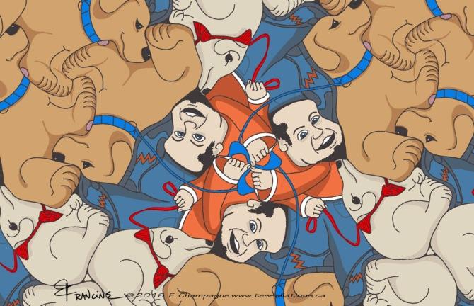 Dog Walker tessellation, ©2016, Champagne Design