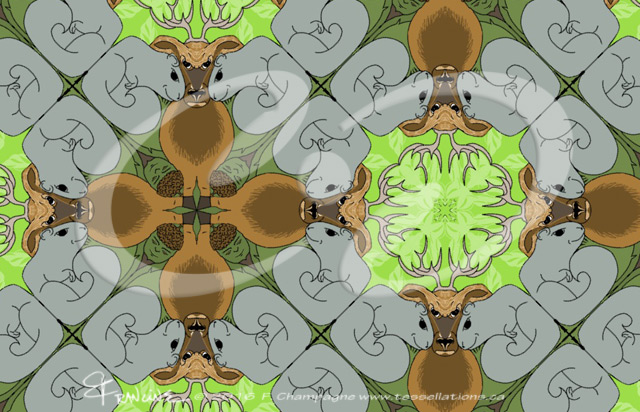 Acornman Deer Squirrel tessellation by Francine Champagne ©2013