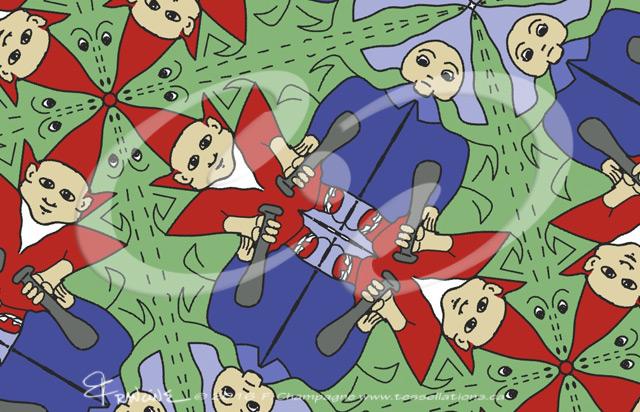 Schoolyard Bullies tessellation by Francine Champagne ©2013