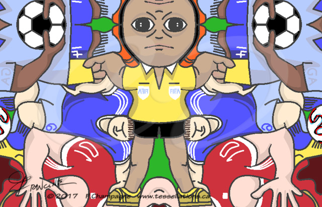 FIFA referee, Gelbe Karte tessellation by Francine Champagne ©2016