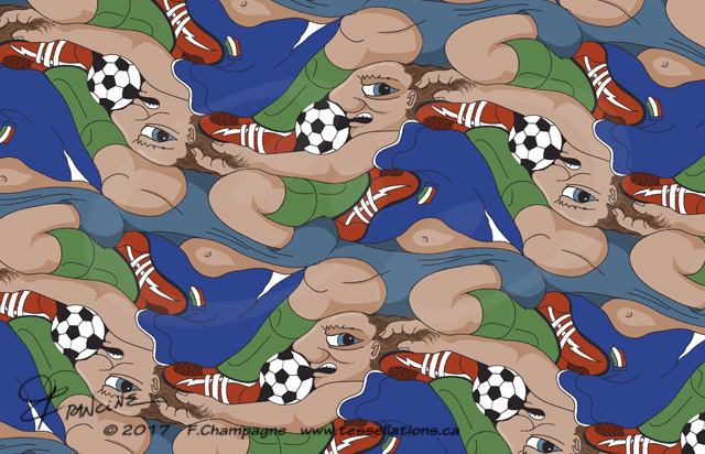 Ultimate Soccer Dive tessellation by Francine Champagne © 2014