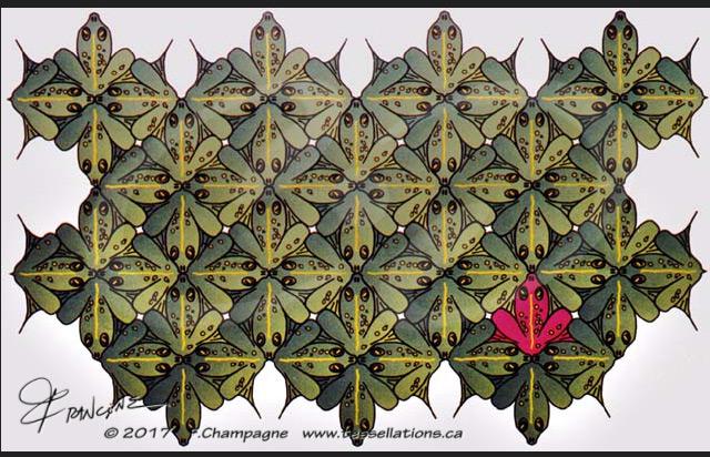 Frogs tessellation by Francine Champagne, ©1988 — Symétruc de grenouilles