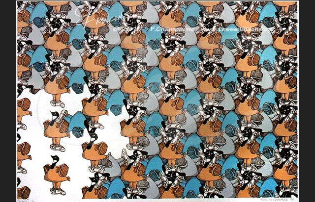 Canada Geese tessellation by Francine Champagne, ©1994 — Symétruc d'outardes